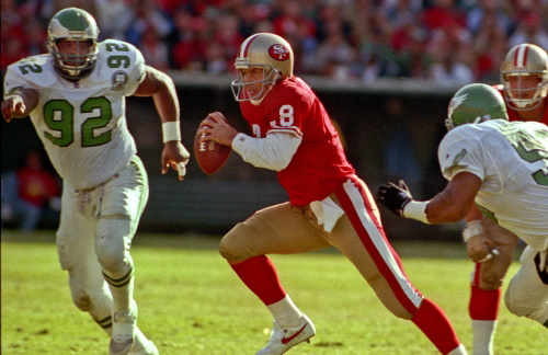 Steve Young #8 San Francisco 49ers und Reggie White #92 Philadelphia Eagles