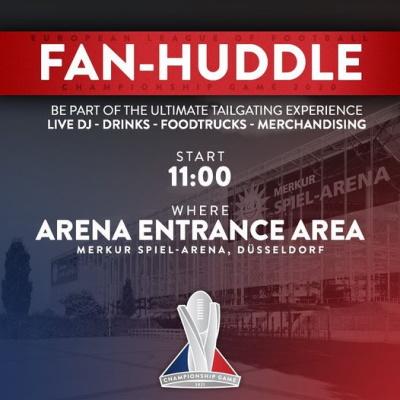 Fan-Huddle beim European Leage of Football Championship Game