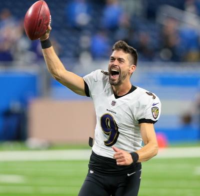 Justin Tucker, Baltimore Ravens, freut sich nach seinem 66 Yards Field